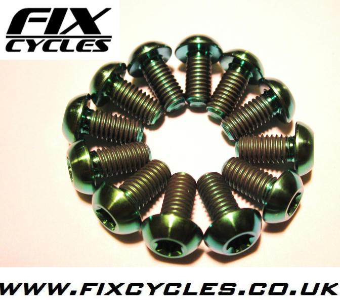 Avid Shimano Disc Brake Rotor 12 pcs Green M5 x 10mm Titanium//Ti Bolt Hayes