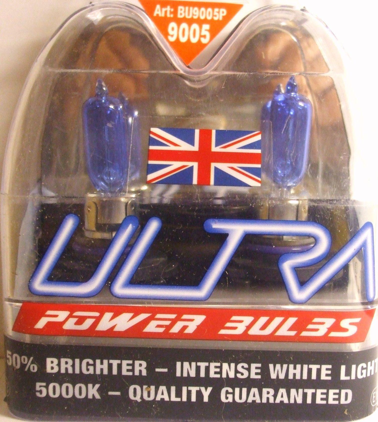 ULTRA POWER BULBS HB3 9005 INTENSE WHITE LIGHT PAIR XENON HB3 ULTRA BULBS 9005