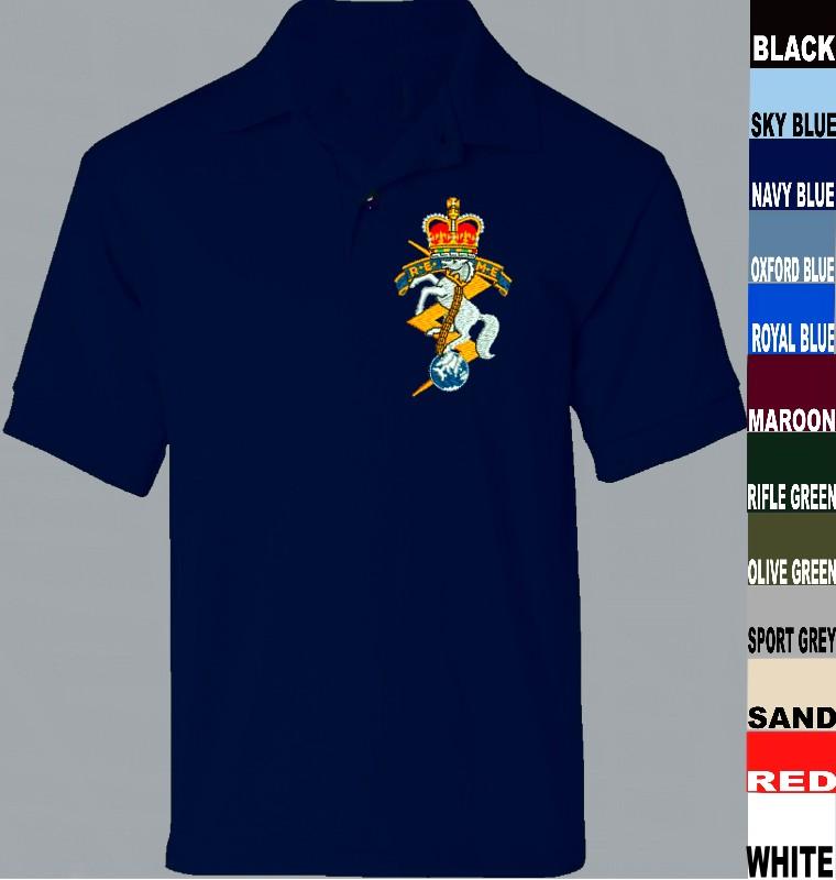 Royal Electrical /& Mechanical Engineers Polo Shirt Embroidered Logo R.E.M.E