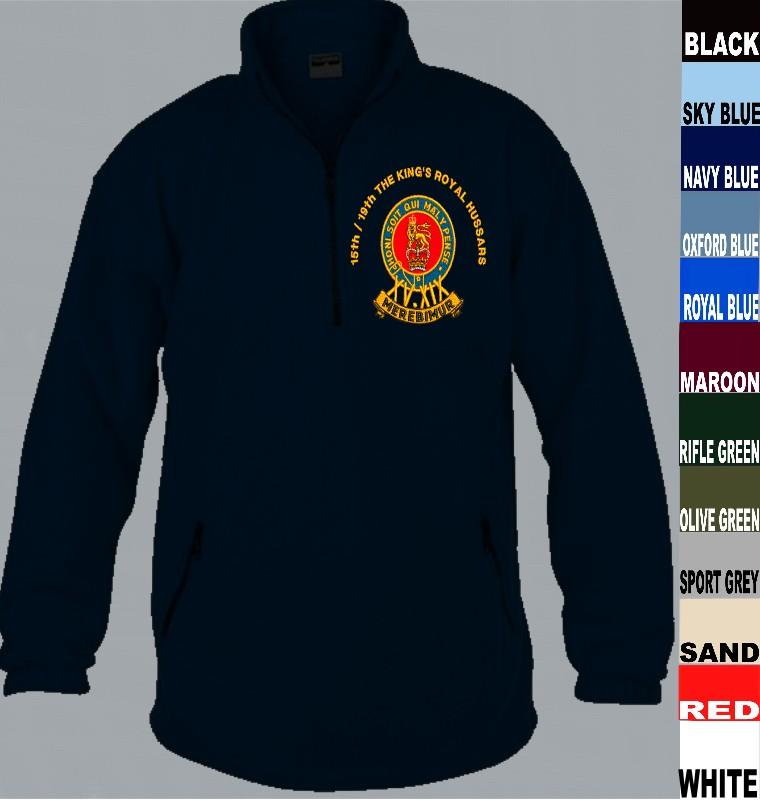 The Royal Hussars Full Zip Fleece Embroidered Logo