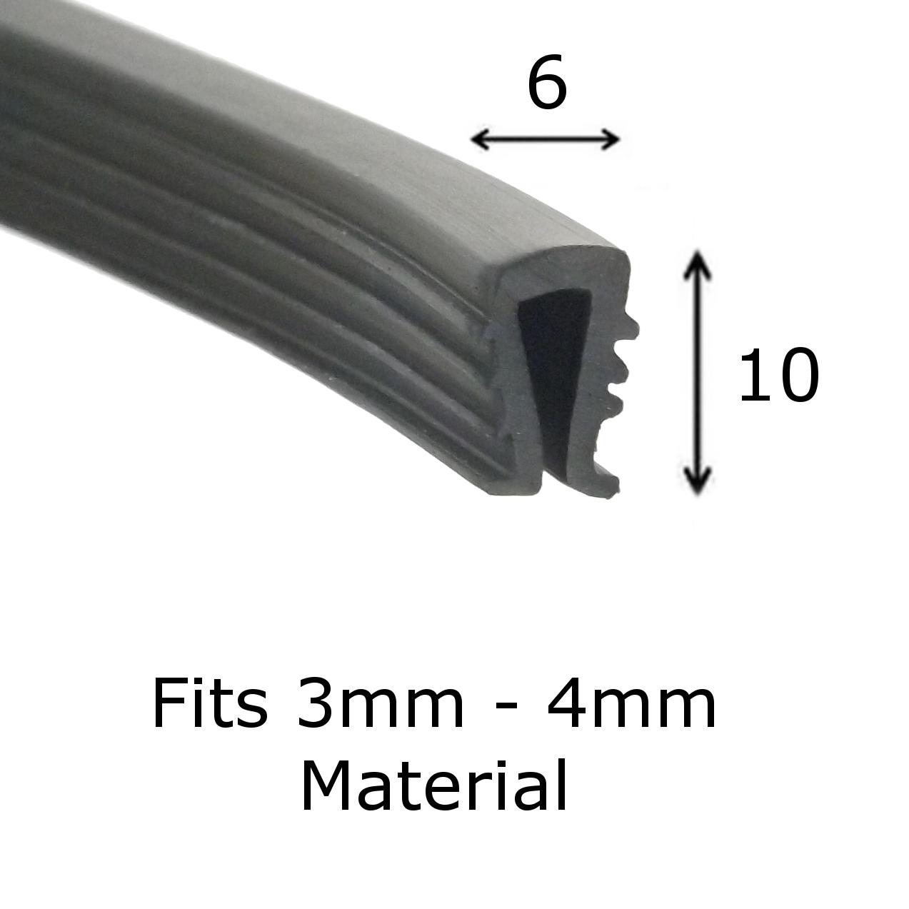 Black Rubber U Channel Edging Trim Seal 10mm x 4mm