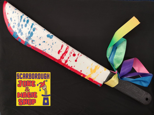50CM BLOODY CLOWN MACHETE Killer Clown Halloween Costume Weapon Accessory BA1756