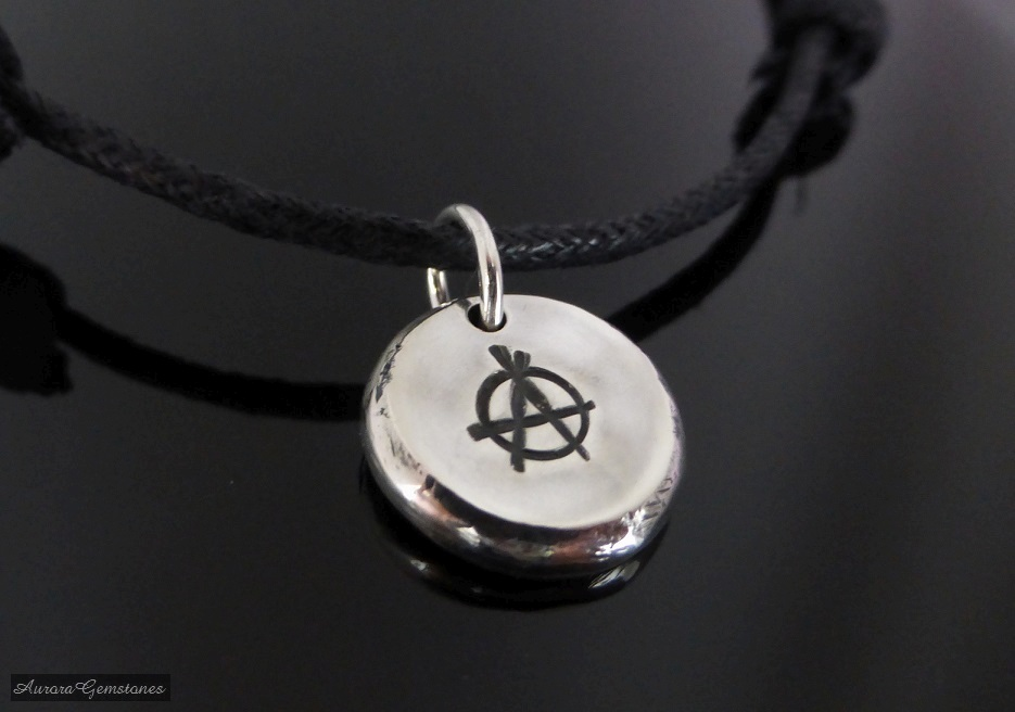 Sterling Silver Pebble Anarchy Necklace Choker anarchy pendant adjustable choker anarchy necklace symbol necklace anarchy choker