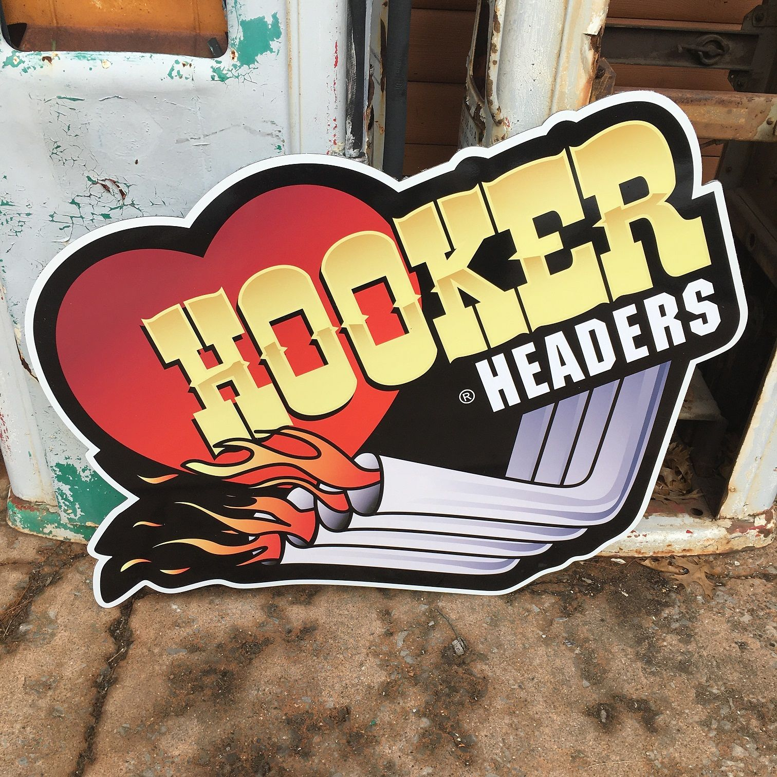 I Love My Hooker Headers Holley Metal Tin Sign Vintage Style Garage Man Cave New
