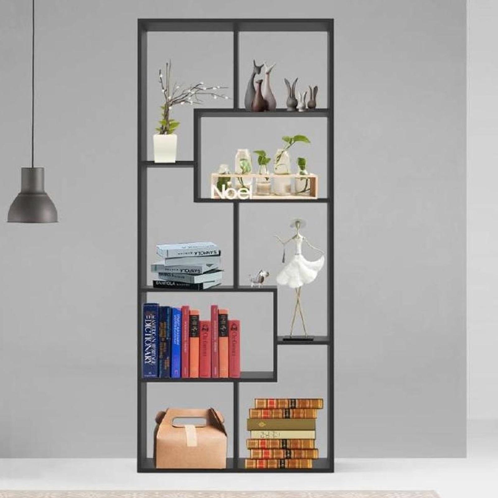 Gr8 Home Wooden Modern Open Shelving Unit Tall Bookcase Black Room Divider Storage Rack Display Organiser
