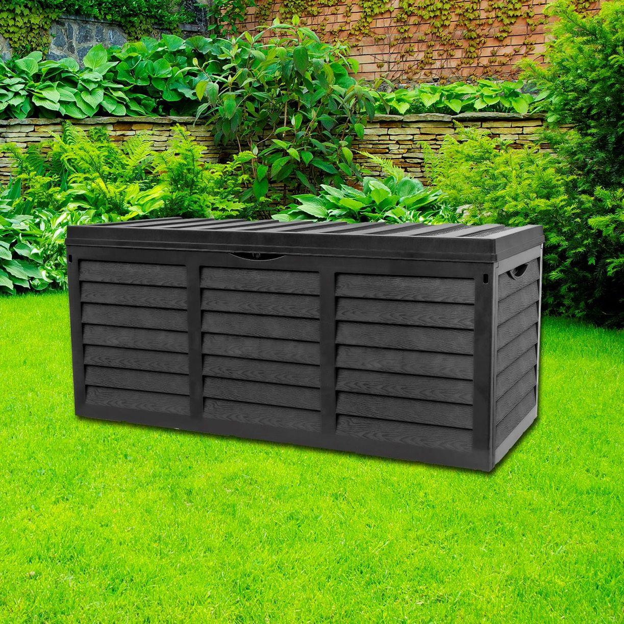 Black 320l Plastic Storage Box Lid Garden Patio Shed Utility Cushion Chest Truck