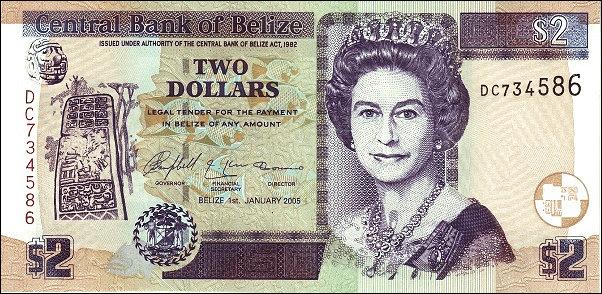 2 Dollars QEII Belize UNC P-66b 2005