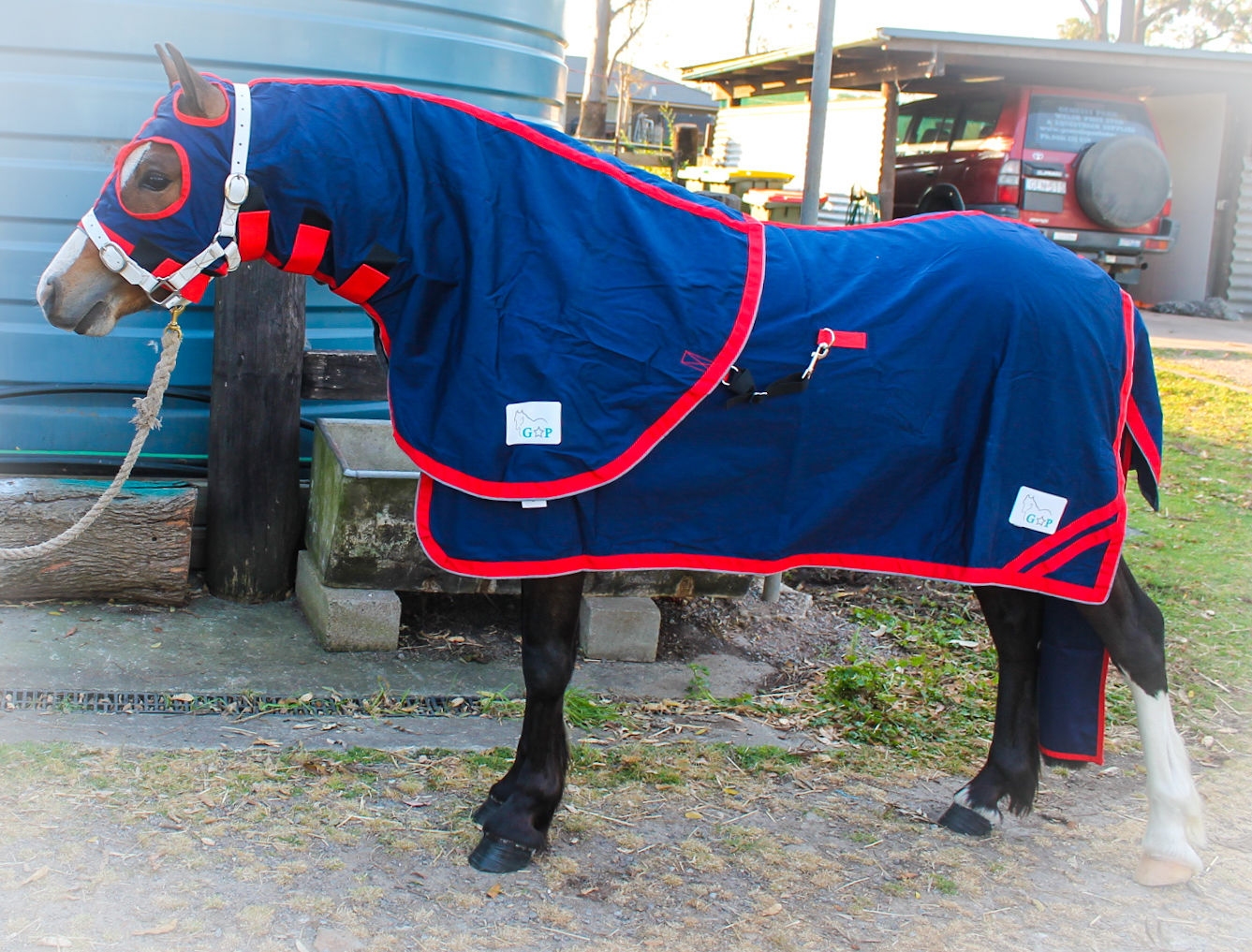 Red Trim Rumani Pure Cotton Drill SUMMER Navy HORSE SHOW RUG HOOD TAIL BAG SET