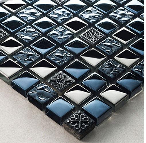 Black Silver Grey Ancient Pattern Chrome Square Metal /& Stone Mosaic Wall Tiles.