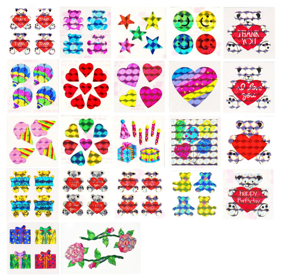 Vintage 80/'s Great Seven 7 PRISM Colorful Hearts Sticker Mod