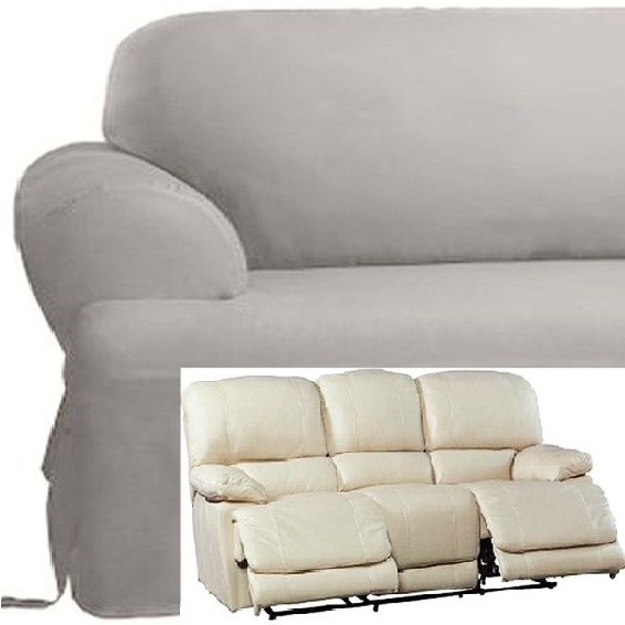 Dual Reclining SOFA Slipcover T Cushion Cotton Gray Sure Fit Grey