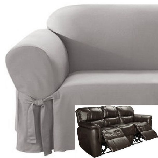Dual Reclining SOFA Slipcover Cotton Gray Sure Fit Recliner Couch Grey