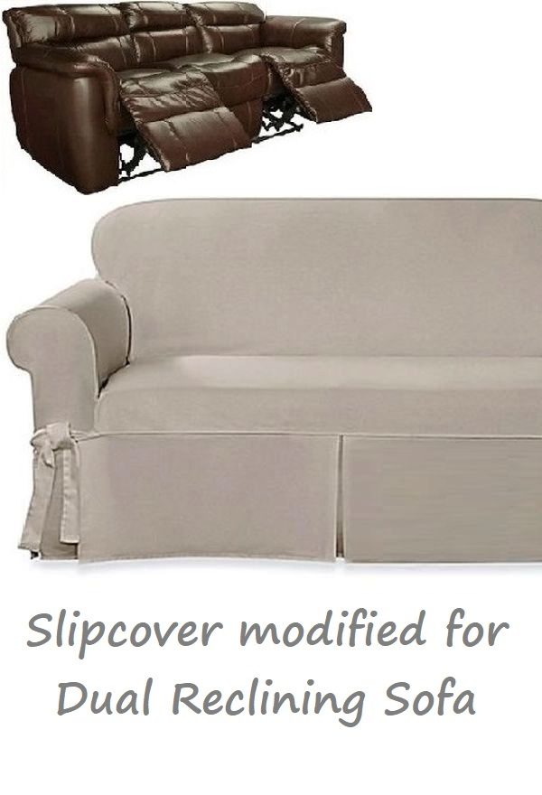 Dual Reclining SOFA Slipcover Farmhouse Twill Taupe Sure Fit Couch