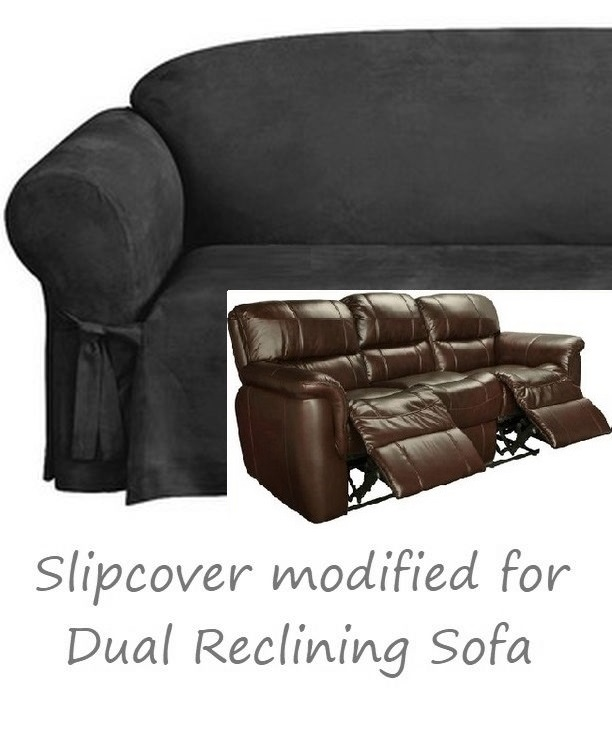 Reclining SOFA Slipcover Black Suede 3-Seater Dual Recliner Couch