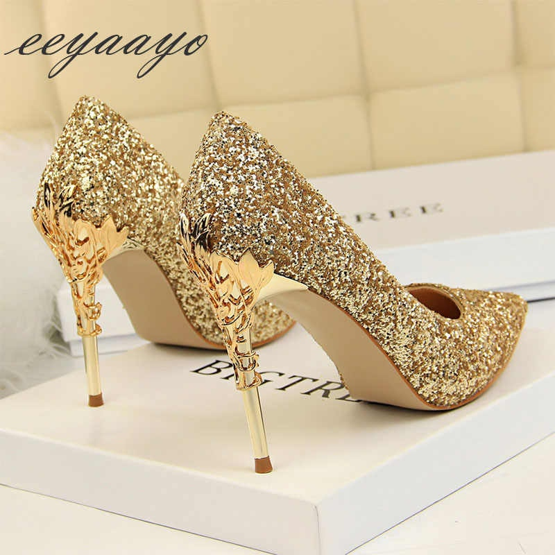 Gold Closed Toe High Heels