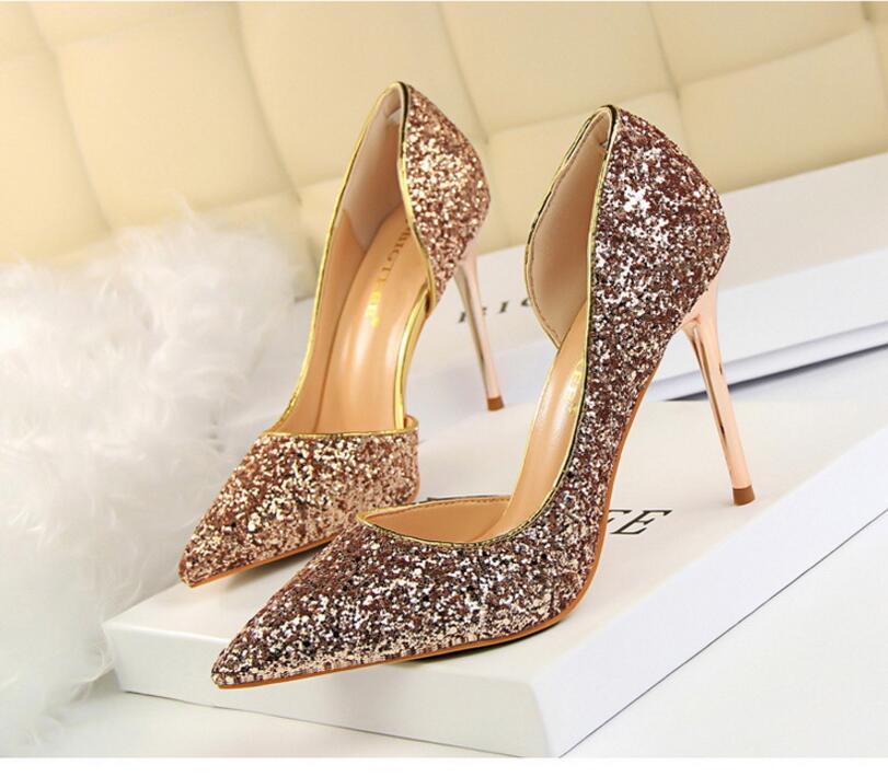 Gold Silver High Heels