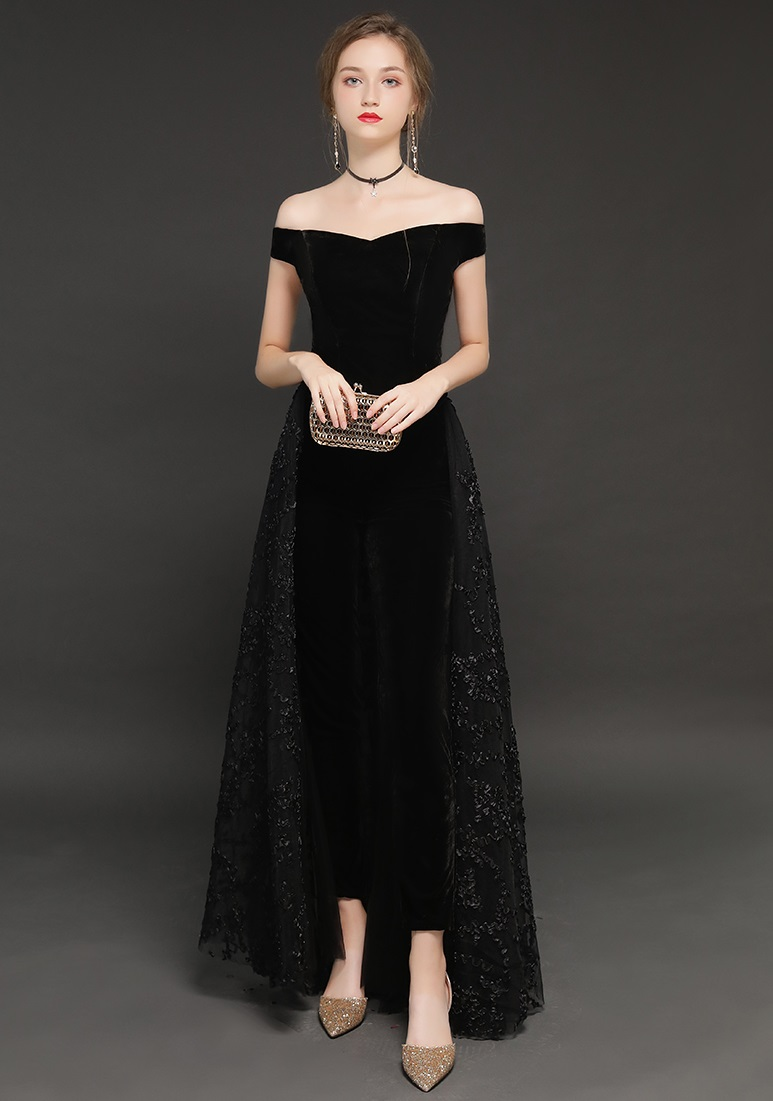 Elegant Off Shoulder Black Bridal Evening Jumpsuit