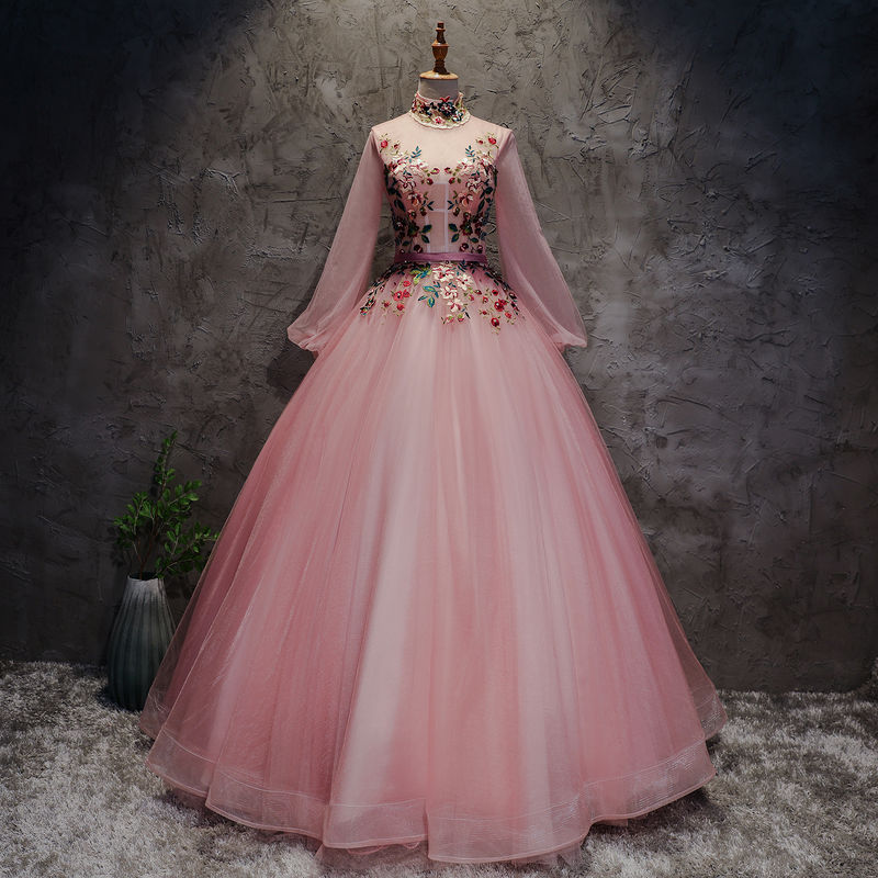 Pink Floral Embroidery Princess Stand Collar Long Sleeve Evening Gown