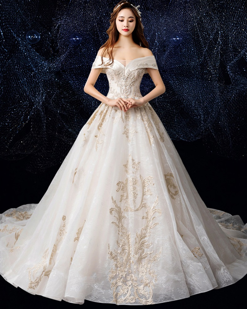 Luxury French Lace Off Shoulder A Line Wedding Dress,Wedding Long Purple Bridesmaid Dresses