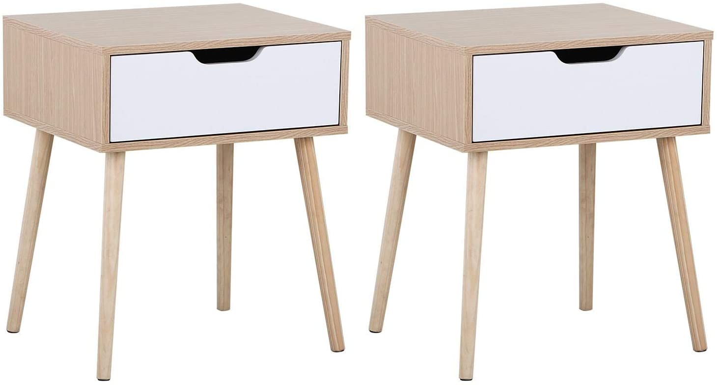 Mid Century Bedside Table Nightstand For Bedroom Sofa Side End Tables With Storage Drawer Wood Legs Set Of 2