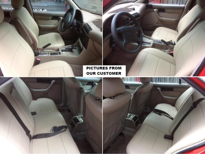 FITS MERCEDES E CLASS W210 ARMREST COVER red stitching