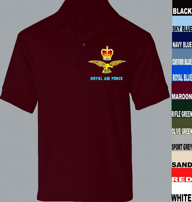 R.A.F Regiment Polo Shirt Embroidered Logo RAF