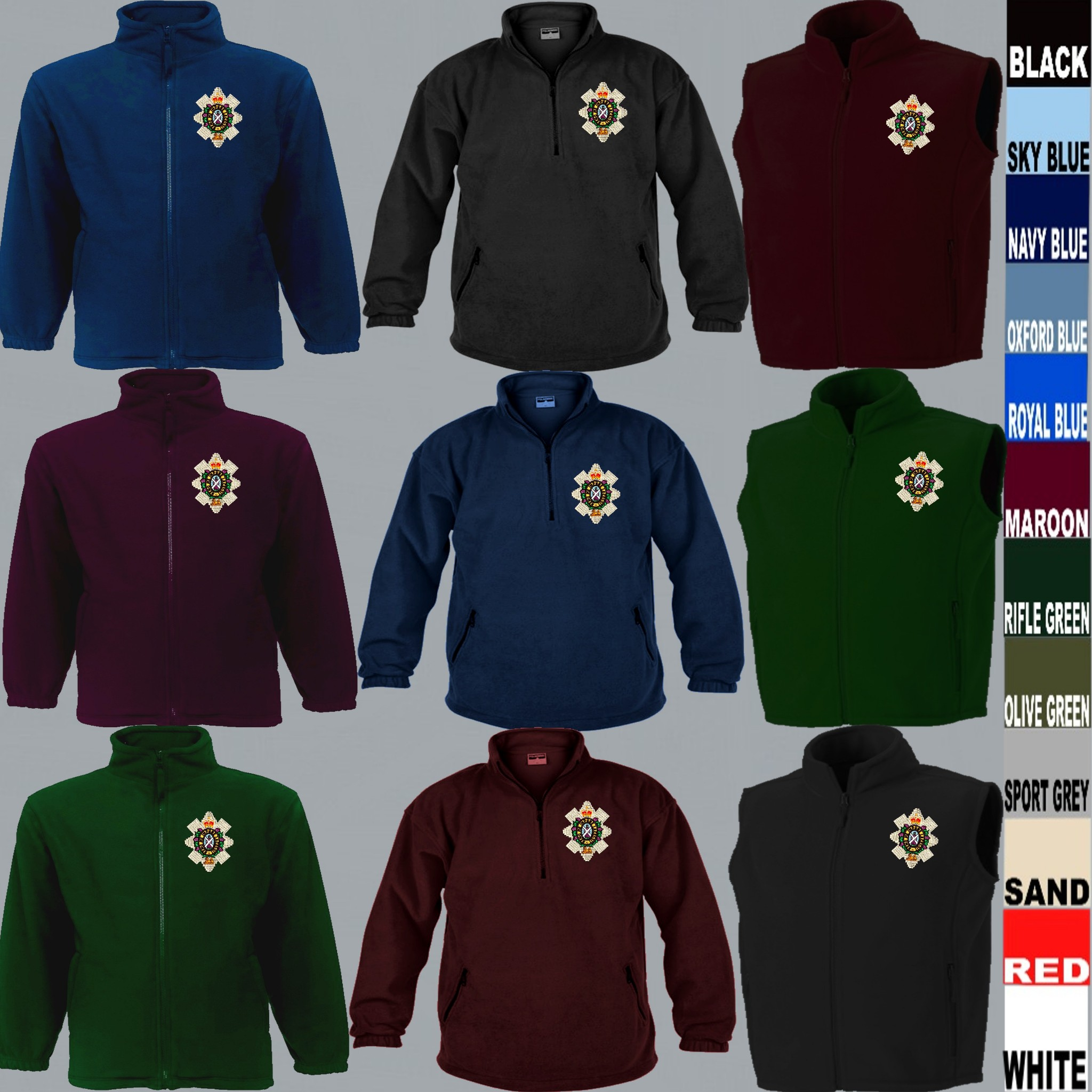 Official Military Online The South Staffordshire Regiment Embroidered Logo Full Zip Heavyweight Fleece Jacket