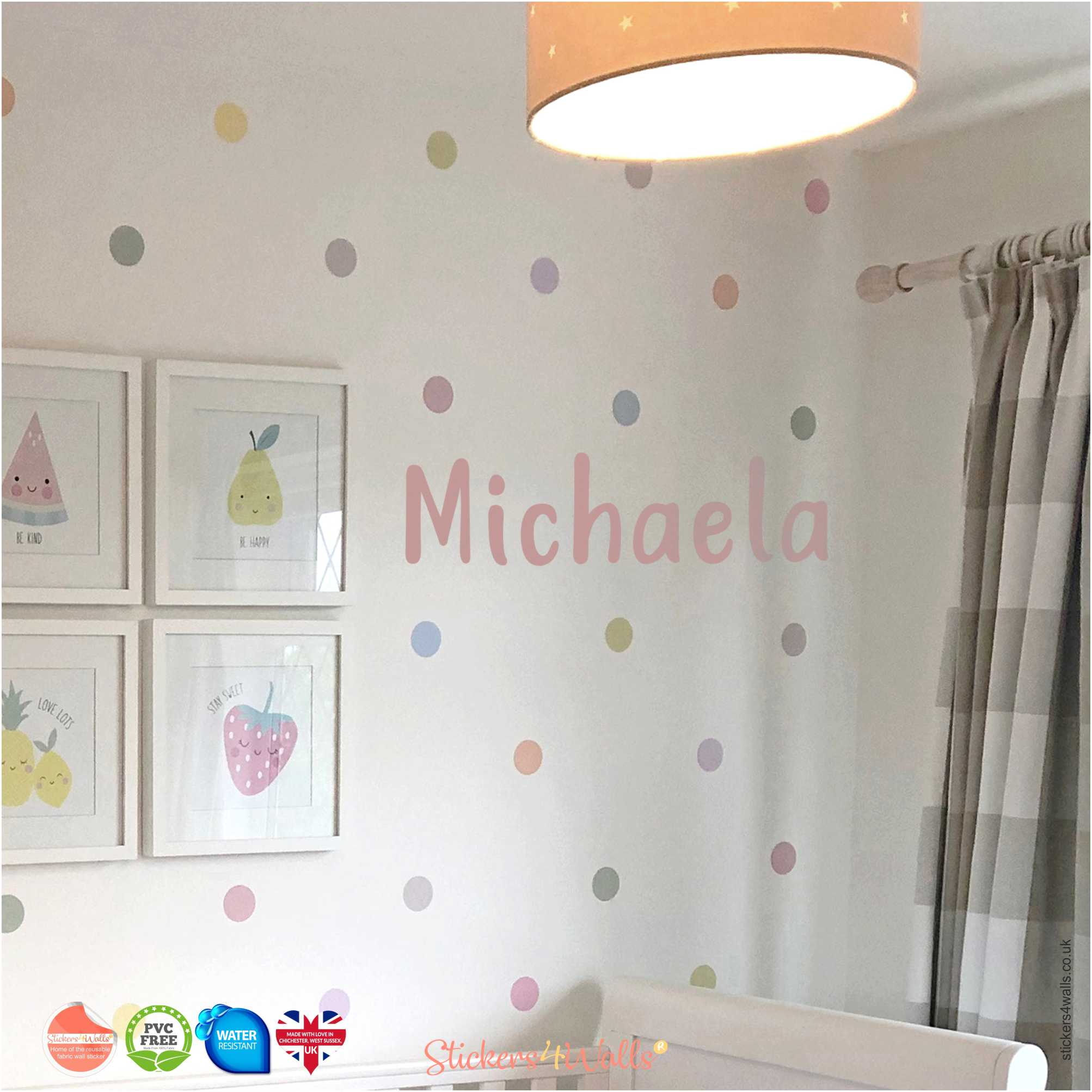 Personalised Name Wall Art Reusable Fabric Wall Stickers Polka Dot Room Collection