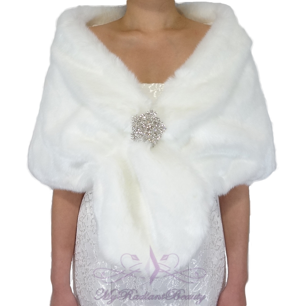 fascino dei costi prezzo abbordabile vendita uk Bridal White Short Faux Fur Stole, Fox Fur Shrug