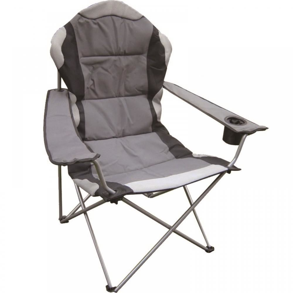 Pleasant Deluxe Folding Camping Chair Grey Black Foldable Fishing Picnic Beach Garden Patio Furniture Seat Pabps2019 Chair Design Images Pabps2019Com