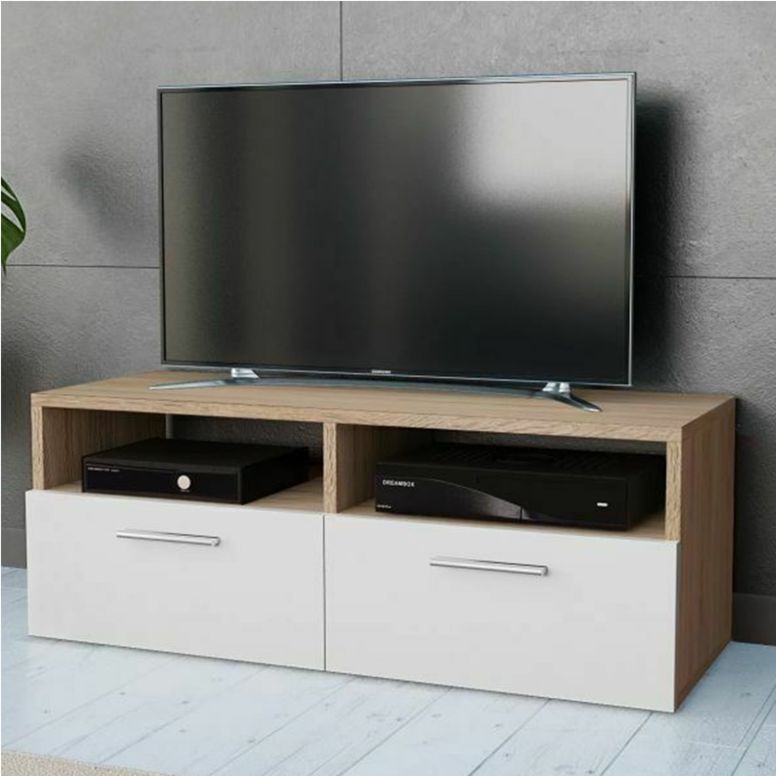 separation shoes 8b2d1 173ac Gr8 Home Wooden Modern White Oak TV Cabinet Stand Unit Lowboard Table  Furniture With Cupboard ATV-STAND-01-WHITE & OAK