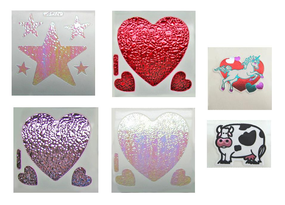Vintage 80/'s Small Prism Unicorn Hearts Sticker Mod