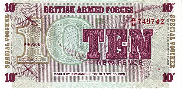 1972 6th SERIES GREAT BRITAIN UNC BRITISH ARMED FORCED 10 NEW PENCE P-M48