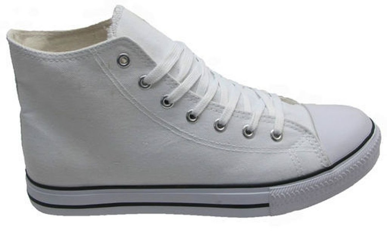 White High Top Ankle Boots Canvas