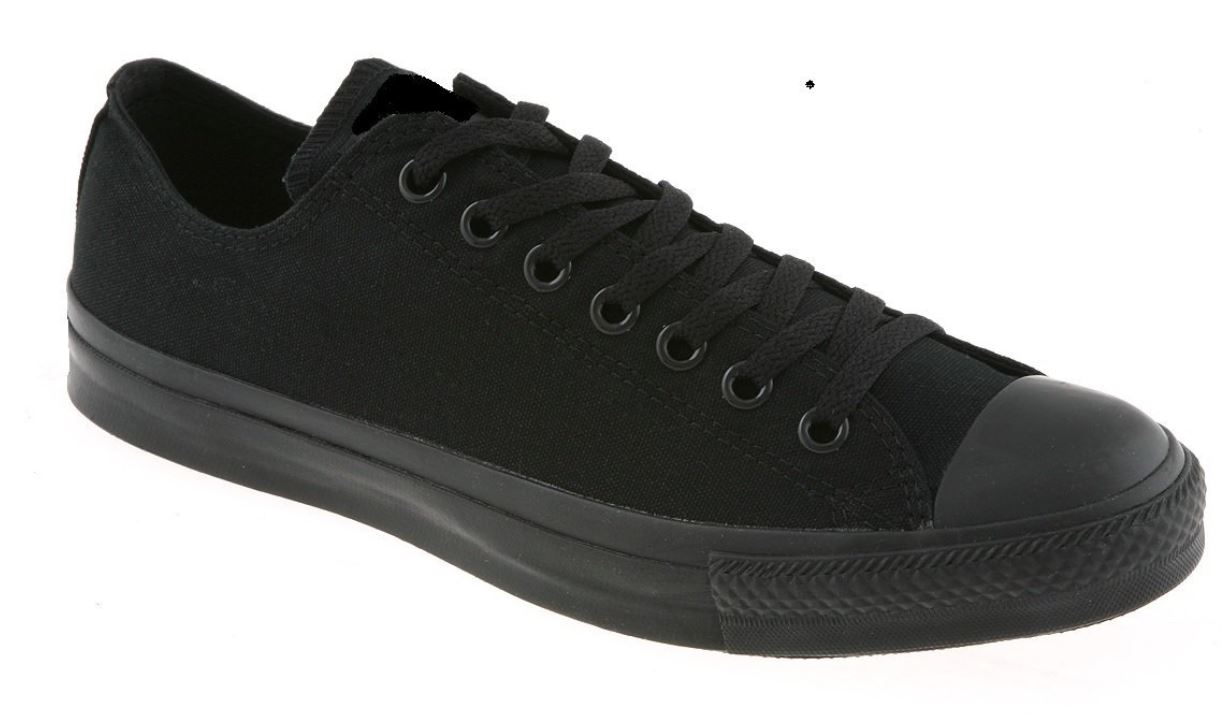 Black Canvas Trainers Lace Up LowTop