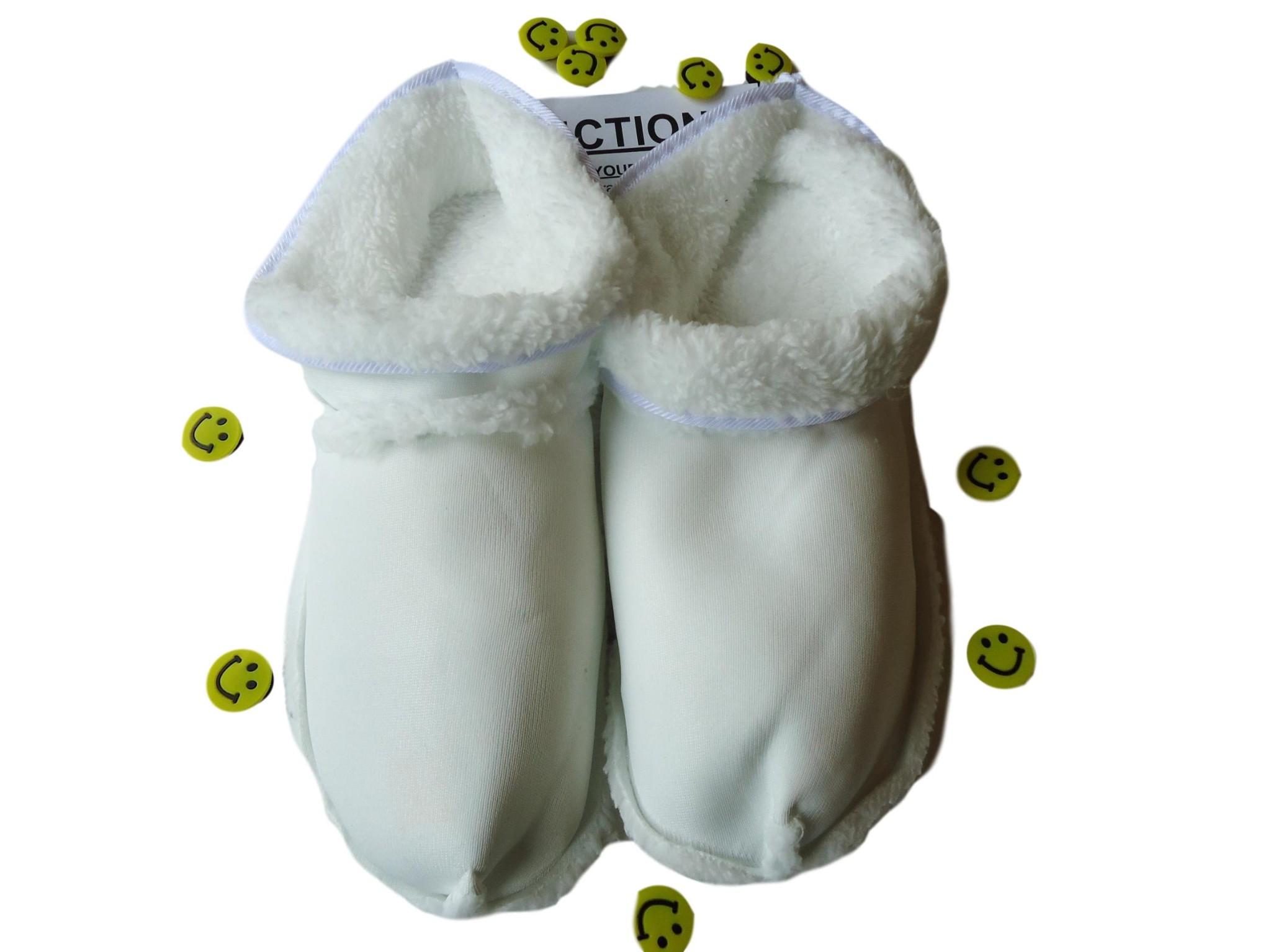 Crocs Slippers Shoes Clogs White Warm Fur