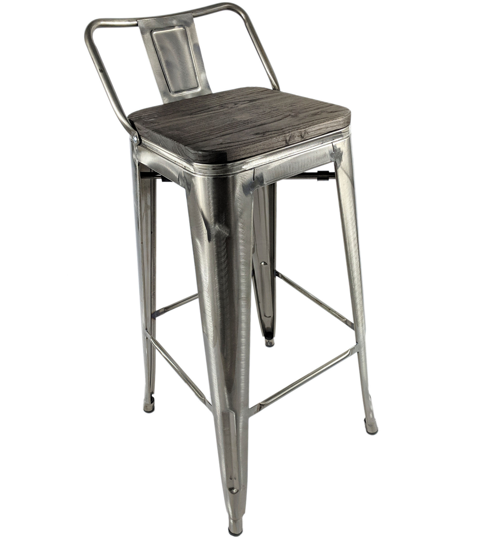 Swell Tolix Brushed Steel Metal Stool Wood Seat Retro Bistro Cafe Gmtry Best Dining Table And Chair Ideas Images Gmtryco