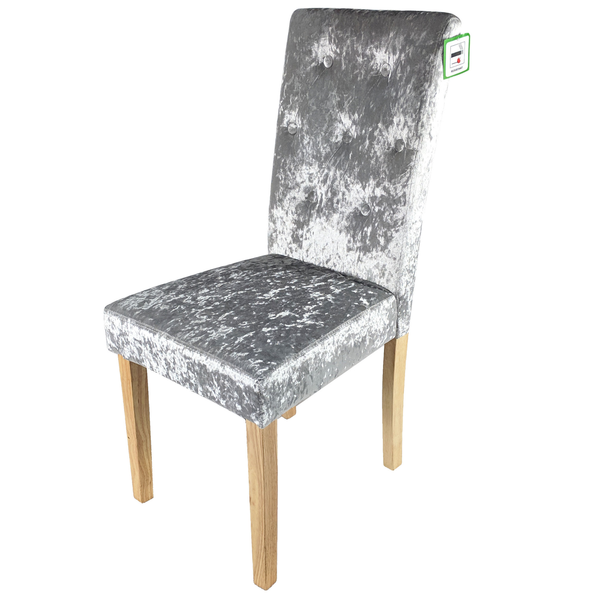 finest selection fdcfa 307c4 2x Silver Crushed Velvet Dining Chair Grey Button Fabric Wood Legs Two