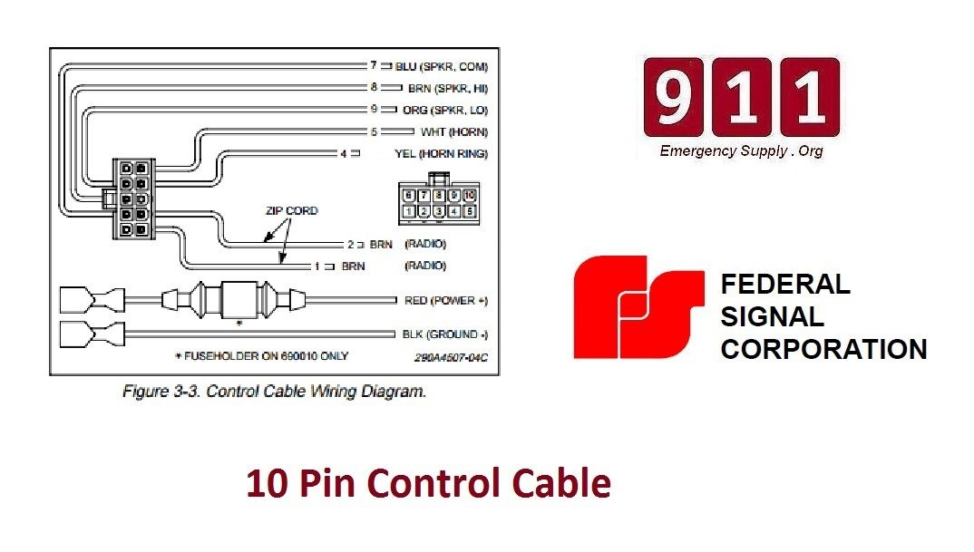 federal pa300 siren wiring diagram federal signal siren power harness 10 pin cable pa300 690010  power harness 10 pin cable pa300 690010