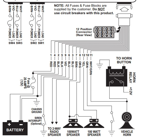 whelen power harness plug cable 12 pin epsilon epsl2s7