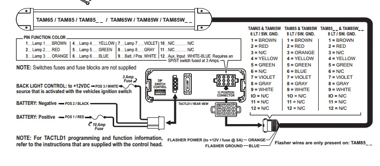 Whelen Power Harness Plug Cable 12 & 3 Pin TAM85 | Whelen Traffic Advisor Wiring Diagram |  | 911 Emergency Supply