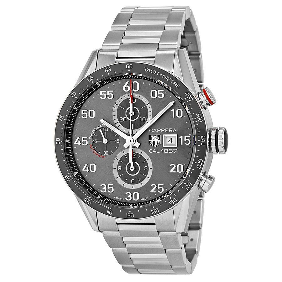 Por favor posición mezcla  Tag Heuer Carrera Calibre 1887 Automatic Chronograph Grey Dial Stainless  Steel Mens Watch