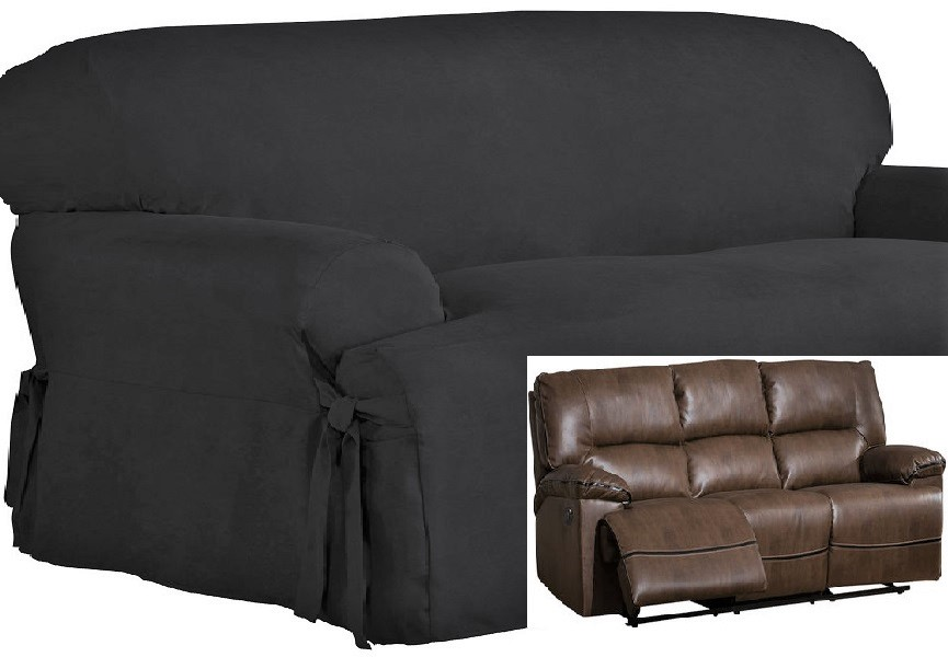 Dual Reclining Sofa Slipcover T Cushion Suede Black Sure