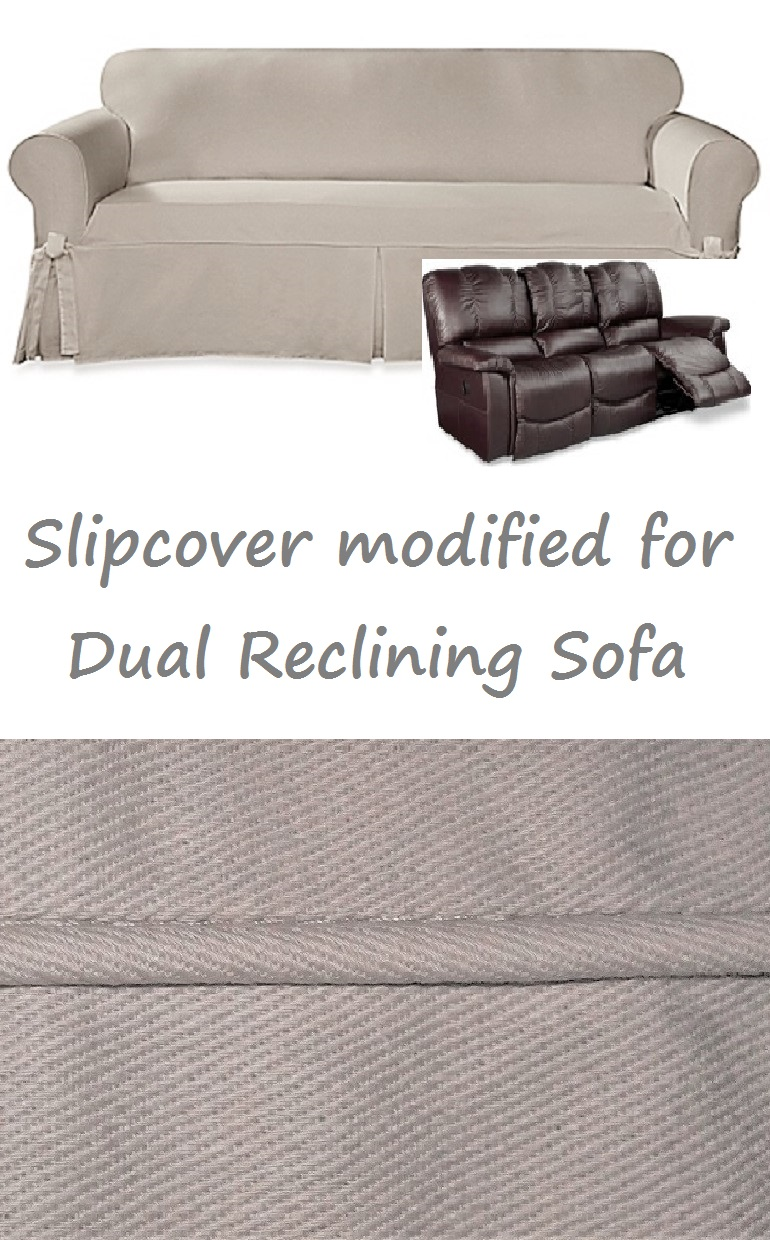 Fantastic Dual Reclining Sofa Slipcover Farmhouse Twill Taupe Sure Fit Couch Alphanode Cool Chair Designs And Ideas Alphanodeonline