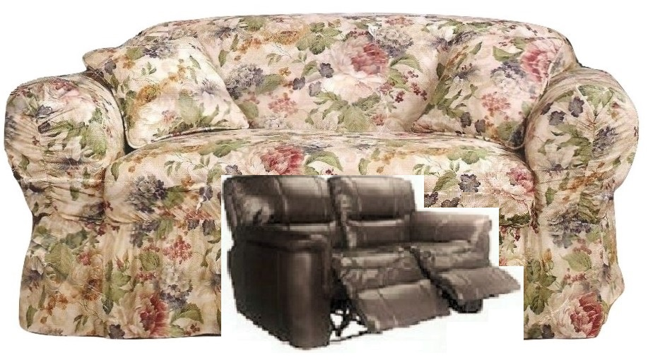 Wondrous Dual Reclining Loveseat Slipcover Shabby Victorian Floral Sure Fit Pdpeps Interior Chair Design Pdpepsorg