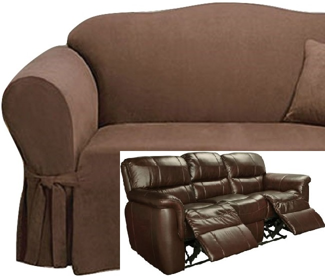 Fine Dual Reclining Sofa Slipcover Suede Chocolate Sure Fit Recliner Couch Gamerscity Chair Design For Home Gamerscityorg