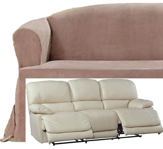 Brilliant Dual Reclining Sofa Slipcover T Cushion Suede Taupe Sure Fit Couch Ibusinesslaw Wood Chair Design Ideas Ibusinesslaworg