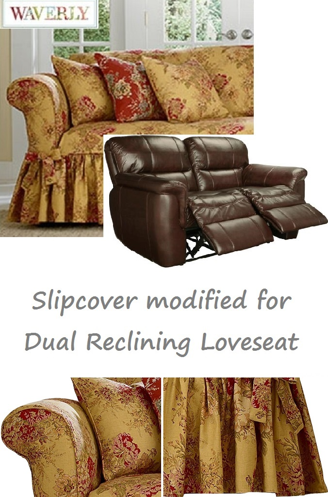 Brilliant Dual Reclining Loveseat Slipcover Waverly Ballad Bouquet Tea Stain Pdpeps Interior Chair Design Pdpepsorg