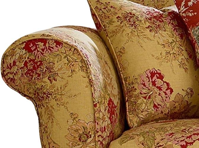 Surprising Dual Reclining Loveseat Slipcover Waverly Ballad Bouquet Tea Stain Theyellowbook Wood Chair Design Ideas Theyellowbookinfo