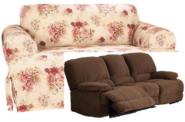Dual Reclining Sofa Slipcover T Cushion Waverly Vintage